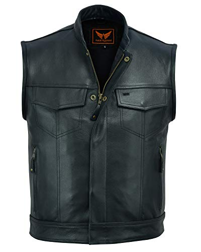 (A&H Apparel Mens Genuine Cowhide Leather Vest Biker Vest Concealed Carry Durable Vest (XXX-Large) )