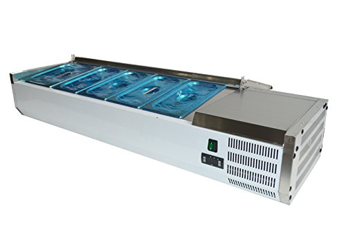 Sandwich Top Refrigerated Counter - 55''Refrigerated Countertop Sandwich Prep / Pizza Prep table 110V StainlessSteel