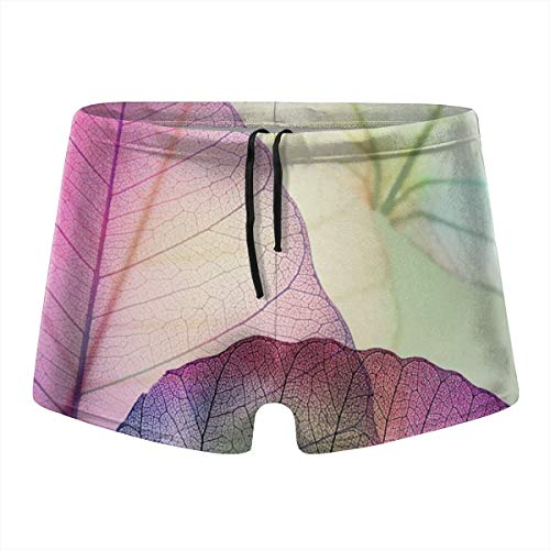 Macro Leaf Veins Tissue Cells Minimalist Plant Mens Quick Dry Board Shorts Boxer Brief Tights Swimming Trunks Black