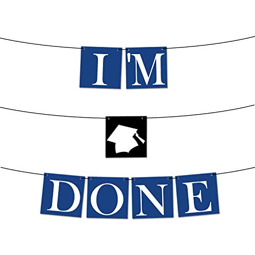 KatchOn I'm Done Graduation Banner Blue - No-DIY Required - Blue and White Graduation Party Supplies 2019 for Highschool, Seniors, College Grad Party   Graduation Decorations Blue, Felt Banner Sign -