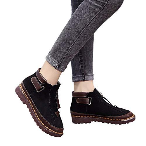 Beautyfine Women's Martin Boot British Wind Chelsea Boots Fashion Thick-Soled Colorblock Brock Flat