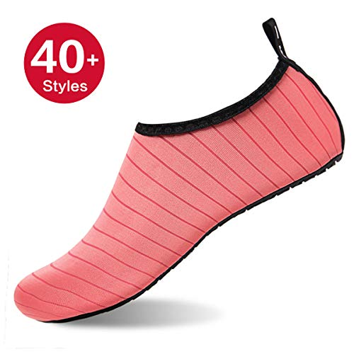 Womens and Mens Water Shoes Barefoot Quick-Dry Aqua Socks for Beach Swim Surf Yoga Exercise (TW.Pink, S)