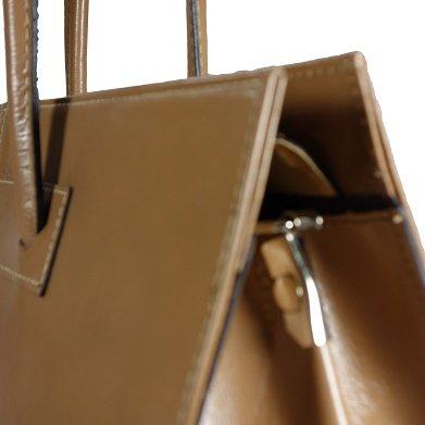 ROMA Taupe Damen Aktentasche / Arbeitstasche, Echtes Leder aus Italien