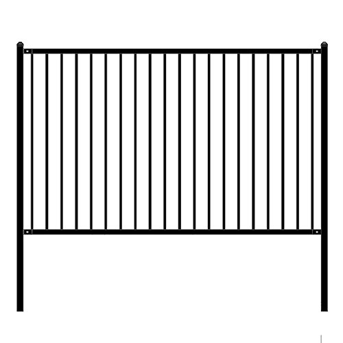 ALEKO FENCELYON8X5 Lyon Style DIY Galvanized Steel Fence Ornamental Security 8 x 5 Feet Black