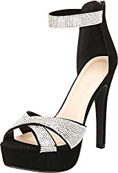 Crisscross Crystal Rhinestone With High Heel Sandal