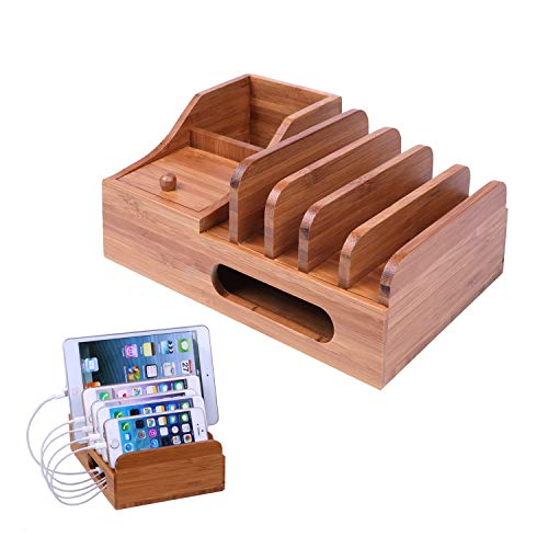 Charging Station Multiple Devices,Bamboo Charging Station Docks and 5 Port Phone Organizer Stand