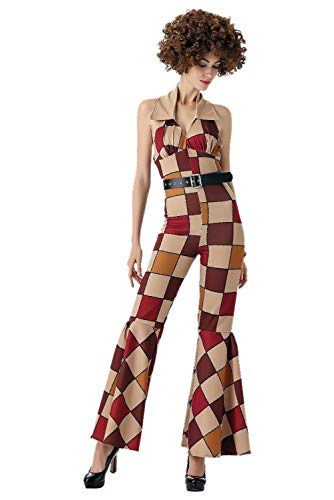MIGHTYCOS Sexy Women's Vintage 80S Disco Boogie Babe Costume Adult Dazzler Dancer Top Pants (Medium) Brown]()