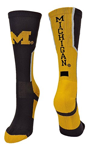 TCK Sports Michigan Wolverines Perimeter Crew Socks (Navy/Gold/White, Small)