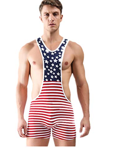 Men American Flag Backless Sport Bodysuit Boxers Jumpsuits Wrestling Singlets Gay Shaper Romper Jockstrap Wrestling Singlet Running Gym Leotard Bodysuit Gym Sport Outfit Underwear Erotic -