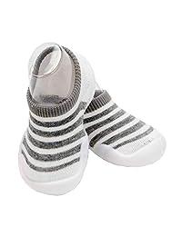 HOWELL Baby Summer Spring Sock Anti-Slip Shoes with Soft Rubber Soles Newborn Indoor Slipper Prewalker Flats for Unisex Girls Boys,Stripe Design