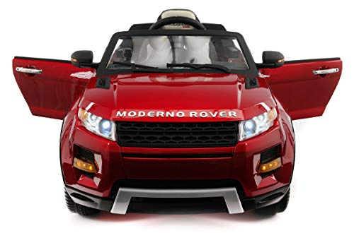2018 Rover Electric | Kids Ride-ON CAR Truck | Adjustable Leather Seats with 5 Point Safety Harness | MP3 Player | 12V Battery | LED Wheels | Parental Remote +(1 Year Warranty) (Cherry RED Metallic)
