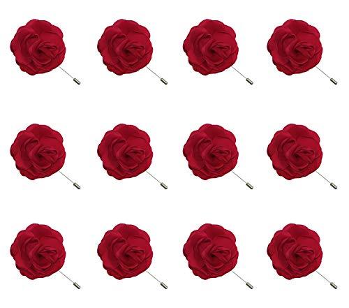 (ZAKIA 12pcs Men's Flower Lapel Pin Brooch Handmade Boutonniere for Suit Wholesale Lot (Red))