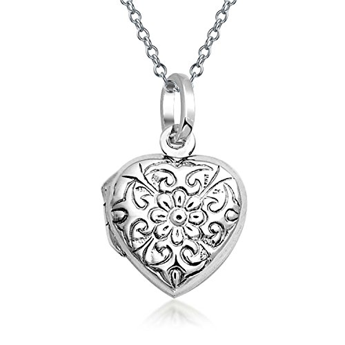 Bling Jewelry Flower Etched Heart Shaped Locket Sterling Silver Pendant (Locket Etched Heart)