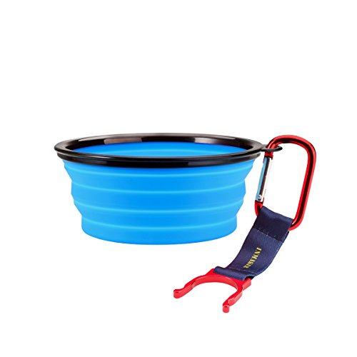 [INMAKER Collapsible Dog Bowl, FDA Approved Silicone Pet Bowl for Dog Cat, BPA Free Portable Travel Bowl (Blue 1.5] (Dollar Jumbo Glasses)