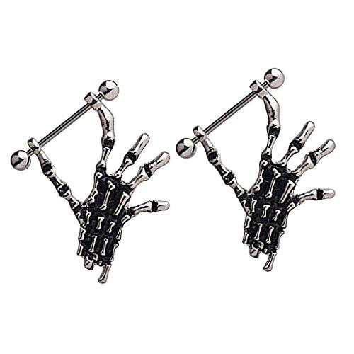 Dovewill 1 Pair Fashion Hand skeleton nipple Ring nipple shields Dangle Jewelled Navel Body Jewelry