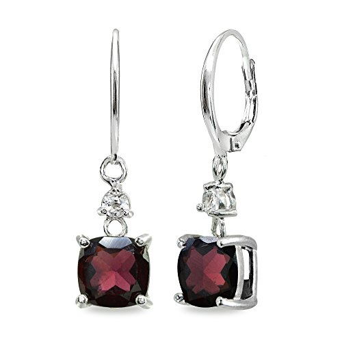 Sterling Silver Garnet & White Topaz 7mm Cushion-cut Dangle Leverback Earrings ()
