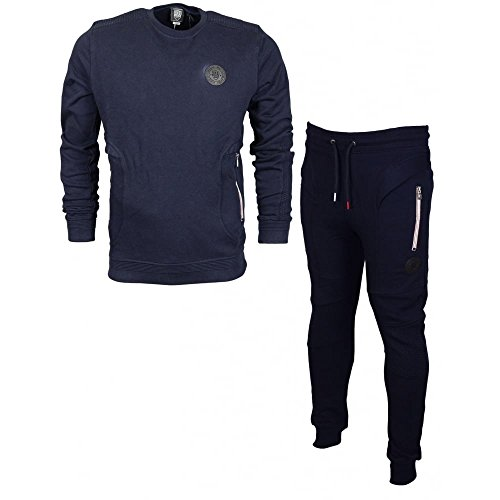 883 Police Sharp Hamblin Round Neck Cotton Slim Fit Navy Tracksuit M Navy by 883 Police