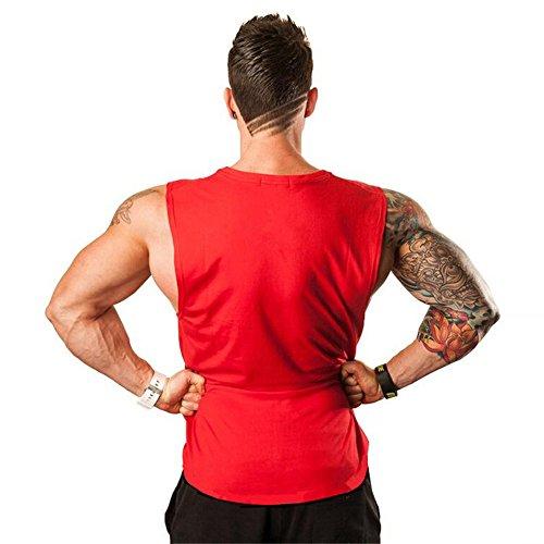 Gym Débardeur Top Pour Musculation Maillot A Sport shirts rouge Veste Formation Bodybuilding De Basketball Basique Manches Euzeo Chemises Tank Fitness Hommes Sans T qxO0dwqgC