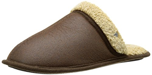 dockers-mens-shawn-easy-on-easy-off-scuff-slipper-in-aviator-faux-leather-brown-8-m-us