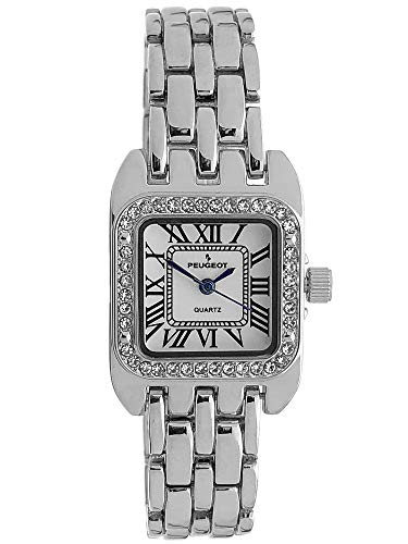Peugeot Women's Tank Shape Watch with Panther Link Bracelet, Dress Watch with Crystal Bezel and Roman Numeral Dial ()
