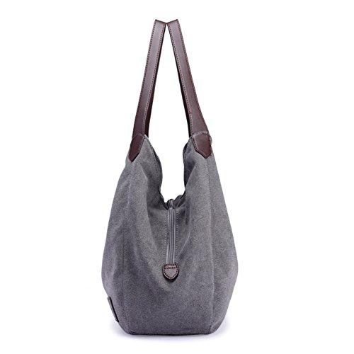 Donna Signore bianco Del Tracolla Nero Di Tela Singolo Mano Tote Borse Nclon A Borsa Bag Nuovo Riso 5Fq6v6