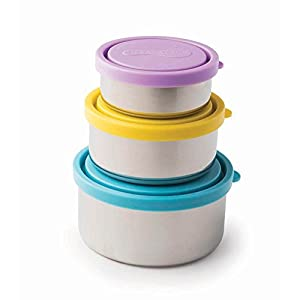 U Konserve Nesting Trio Stainless Steel Containers with Leak-Resistant Lids, Turquoise/Yellow/Lavender