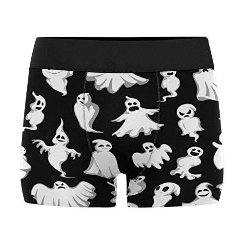 INTERESTPRINT Custom Men's Halloween White Ghosts Boxer Briefs Underwear XL