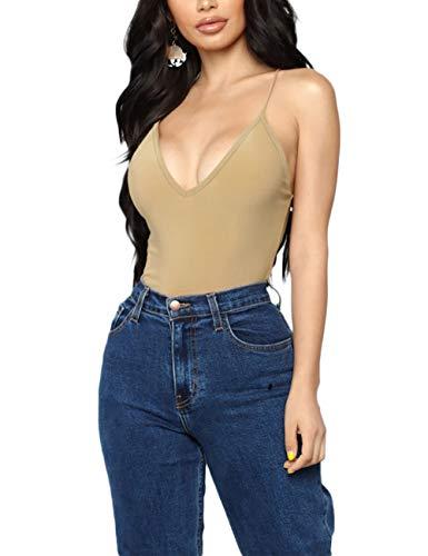 Queen.M Women's Sexy Bodysuit Solid Deep V Neck Leotard Tank Top Sleeveless Bodycon Jumpsuit Onesie Romper (Khaki, -