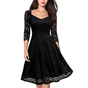 MISSMAY Women's Vintage Floral Lace Long Sleeve Boat Neck Cocktail Party Swing Dress
