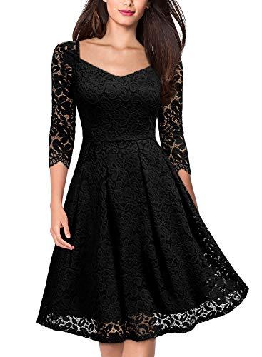 MISSMAY Women's Vintage Floral Lace Half Sleeve V Neck Cocktail Formal Swing Dress, X-Large, Black