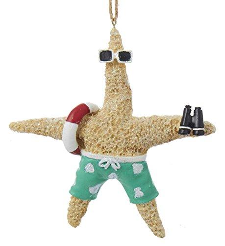 Beach Themed Christmas Ornaments Kurt Adler C8971 Beach Style Tan Starfish Couple Decorative Holiday Christmas Tree Ornament Set with Twine Rope Hanger… beach themed christmas ornaments