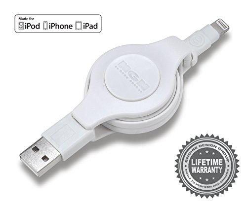 Apple MFI Certified Retractable Lightning Cable | Charge and Sync Lightning to USB - 3.5 Feet (White) 3-Pack by Engine Design Group NGN (Image #3)