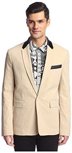 (Versace Jeans Men's Tonal Animal Jacquard Jacket, Beige, 52 IT/Large )