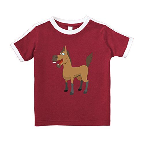 Cute Rascals Horse Happy Open Mouth Cotton Short Sleeve Crewneck Unisex Toddler T-Shirt Soccer Tee - Red, 2T