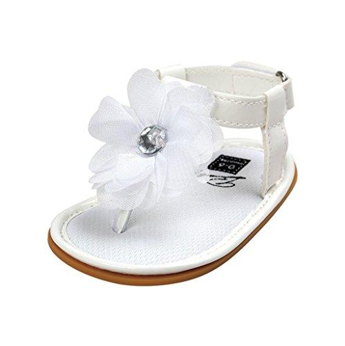 Baby Schuhe Auxma Baby Mädchen Blumen Sommer Sandalen Anti-Rutsch-Krippe Schuhe Für 3-18 Monate (3-7 M, Rosa) Weiß