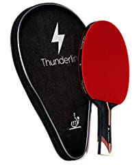 Thunderline 6 star premium ping pong paddle together with the BONUS professional black case. Thunderline offers the advanced table tennis racket with the high quality materials. ITTF approved racket will allow you to participate in tournamen...