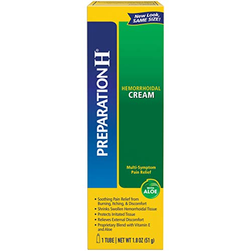 Preparation H (1.8 Ounce, 1 Tube per Box) Hemorrhoid Symptom Treatment Cream, Maximum Strength Pain Relief with Aloe, Tube, (Pack of 2)