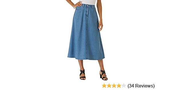 32d04b3401 Roamans Women's Plus Size Denim A-Line Skirt - Light Stonewash, 12 W at  Amazon Women's Clothing store: