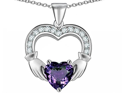 Star K Hands Holding 8mm Heart 1 inch Claddagh Pendant Necklace with Simulated Alexandrite