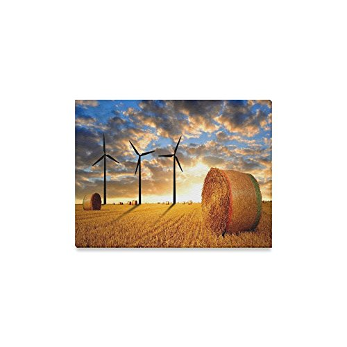 Canvas Print Bales Hay Sunny Days Modern Wall Art for Home Room Office Decoration (16x12 inch)]()