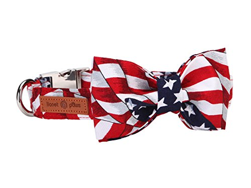 Top american flag dog collar with bow