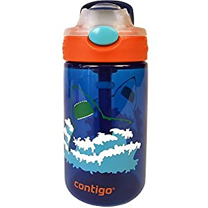 Contigo AUTOSPOUT Straw Gizmo Flip Kids Water Bottle, 14oz, Blue