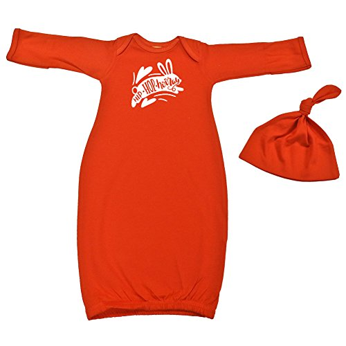 Mashed Clothing Unisex-Baby - Hip Hop Hooray Easter - Baby Layette Gown & Cap (Orange, Newborn) by Mashed Clothing