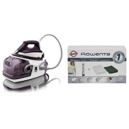 Rowenta DG8520 Perfect Steam 1800-Watt Eco Energy Steam Iron Station Stainless Steel Soleplate, 400-Hole, Purple & Rowenta ZD100 Non-Toxic Stainless Steel Soleplate Cleaner Kit for Steam Irons - Rowenta Soleplate Cleaner