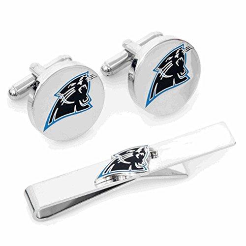 Cufflinks Metal Mens Cuff Links Carolina Panthers And Tie Bar Gift Set Nfl Silver Carolina Panthers Cufflinks