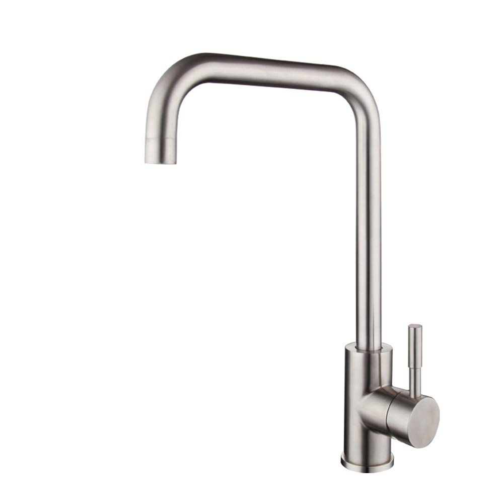 Kitchen Faucet,Great Valued 360 Degree Swivel Hot&Cold Mixer Stainless Steel Single Handle Single Hole Brushed Steel Kitchen Sink Tap,Easy Installation Brushed Nickel Kitchen Tap