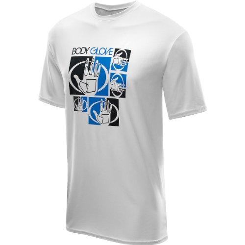 White Rash Vest (Body Glove Men's Deluxe Short Arm Loose Fit Rashguard, White, X-Large)