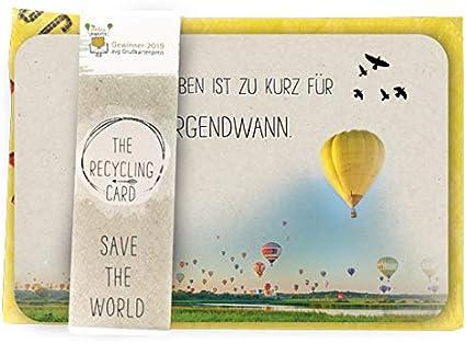 Postkarte mit Recycling Dauerumschlag Sch/öne Spruchkarte im Set Preisgekr/önte Postkarte A5 mit Umschlag DIN A 5 R/ückseite farbig bedruckt Karte f/ür viele Angelegenheit Motiv: Barfuss