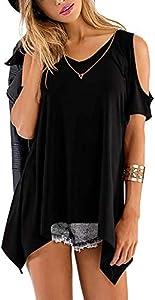 noabat Tops Women Black Shirts Summer Sexy Cold Shoulder...