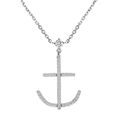 (EVER FAITH 925 Sterling Silver Cubic Zirconia Nautical Theme Ship Anchor Pendant Necklace Clear)